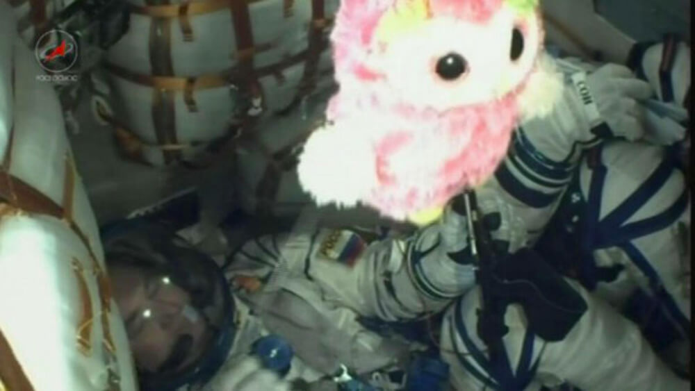 An owl stuffed animal is used as a zero-gravity indicator