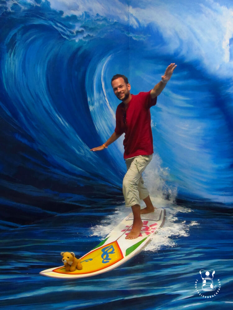 Fluffy and his human go surfing at the Langkawi 3D Art Museum