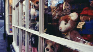 Shop window with teddy bears