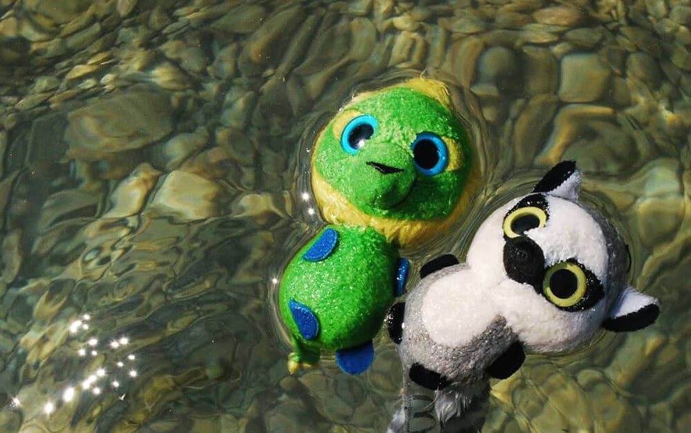 Traveling plushies Goggles and Talulu McTravel