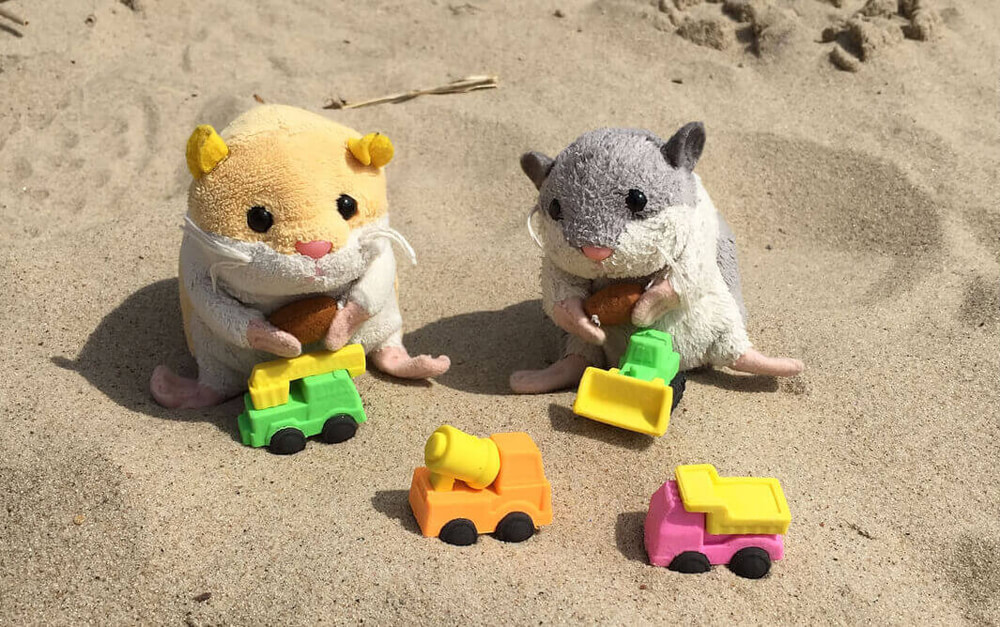 Hamster plushies Flinki and Flora at the beach