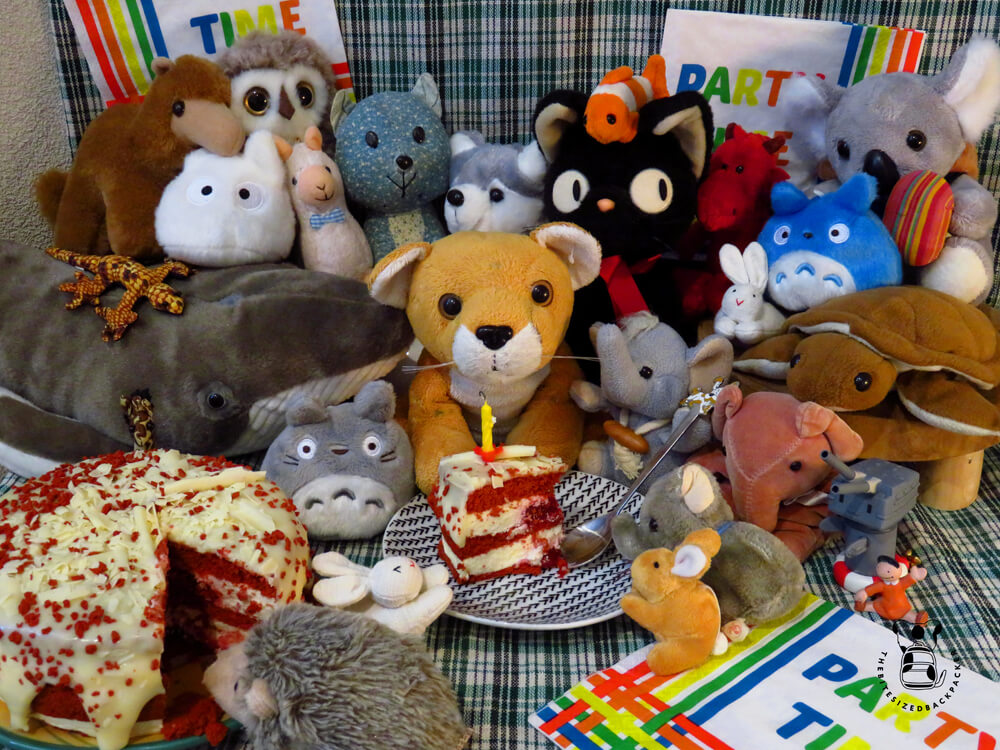 Stuffed animals having a plushie party