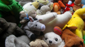 Donkey plushie and other stuffed animals