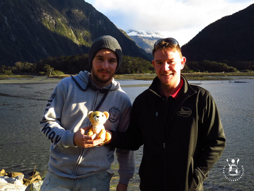 Fluffy in Milford Sound with Dan & Paul