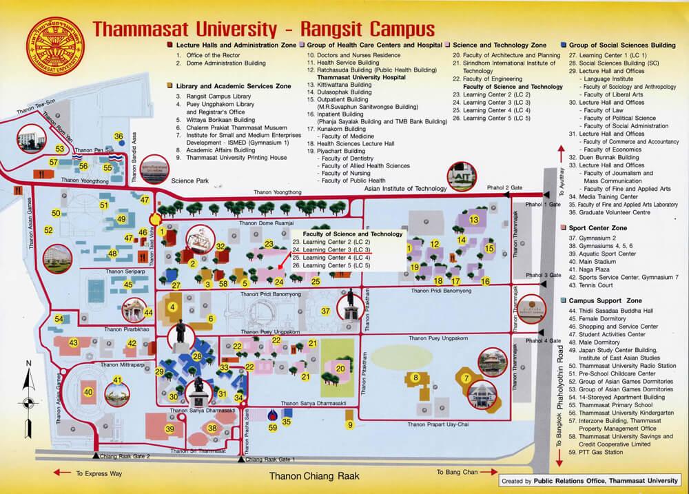 Map of Thammasart University Rangsit