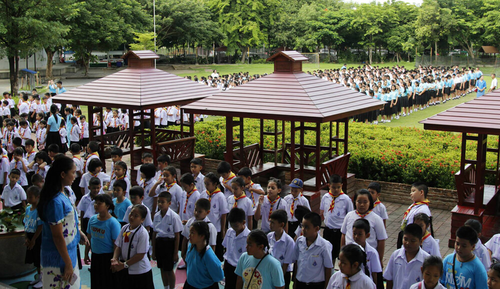 The Morning Flag Ceremony at a Thai School