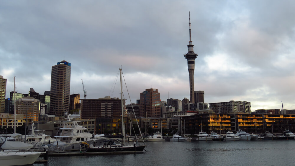 The harbor of bustling Auckland