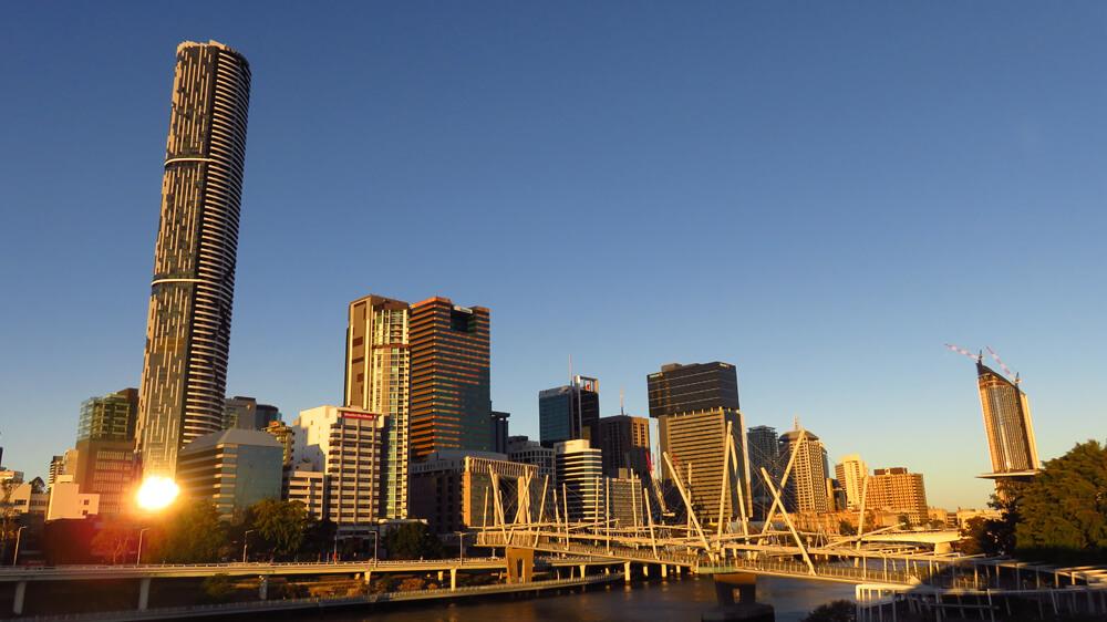 Brisbane bij zonsondergang